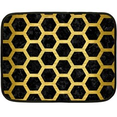 Hexagon2 Black Marble & Gold Brushed Metal Fleece Blanket (mini) by trendistuff