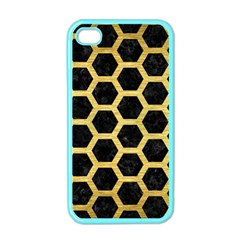 Hexagon2 Black Marble & Gold Brushed Metal Apple Iphone 4 Case (color) by trendistuff