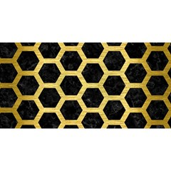 Hexagon2 Black Marble & Gold Brushed Metal You Are Invited 3d Greeting Card (8x4)