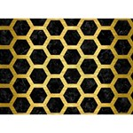 HEXAGON2 BLACK MARBLE & GOLD BRUSHED METAL Clover 3D Greeting Card (7x5) Front