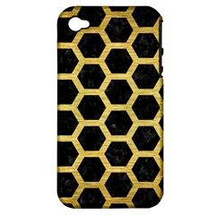 Hexagon2 Black Marble & Gold Brushed Metal Apple Iphone 4/4s Hardshell Case (pc+silicone) by trendistuff