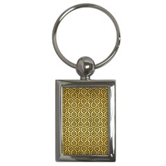 Hexagon1 Black Marble & Gold Brushed Metal (r) Key Chain (rectangle) by trendistuff