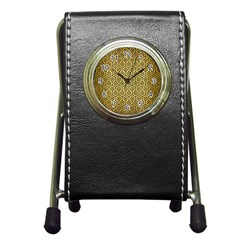 Hexagon1 Black Marble & Gold Brushed Metal (r) Pen Holder Desk Clock by trendistuff