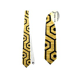 Hexagon1 Black Marble & Gold Brushed Metal (r) Necktie (two Side)