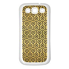 Hexagon1 Black Marble & Gold Brushed Metal (r) Samsung Galaxy S3 Back Case (white) by trendistuff