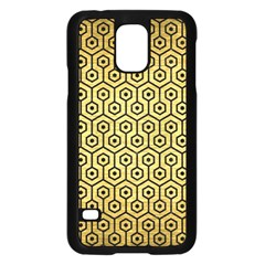 Hexagon1 Black Marble & Gold Brushed Metal (r) Samsung Galaxy S5 Case (black) by trendistuff