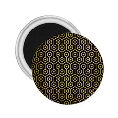 Hexagon1 Black Marble & Gold Brushed Metal 2 25  Magnet by trendistuff