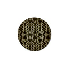 Hexagon1 Black Marble & Gold Brushed Metal Golf Ball Marker (4 Pack) by trendistuff