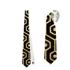 Hexagon1 Black Marble & Gold Brushed Metal Necktie (two Side)