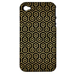Hexagon1 Black Marble & Gold Brushed Metal Apple Iphone 4/4s Hardshell Case (pc+silicone) by trendistuff