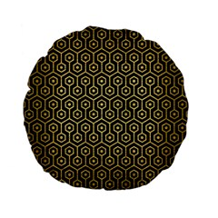 Hexagon1 Black Marble & Gold Brushed Metal Standard 15  Premium Flano Round Cushion  by trendistuff