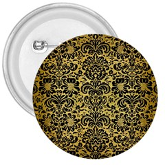 Damask2 Black Marble & Gold Brushed Metal (r) 3  Button by trendistuff