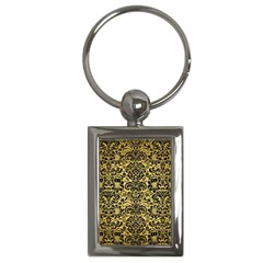 Damask2 Black Marble & Gold Brushed Metal (r) Key Chain (rectangle) by trendistuff