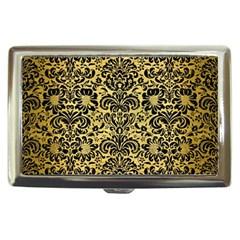 Damask2 Black Marble & Gold Brushed Metal (r) Cigarette Money Case