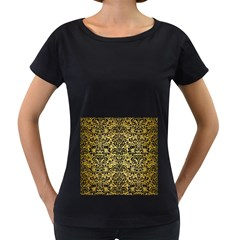 DMS2 BK MARBLE GOLD (R) Women s Loose-Fit T-Shirt (Black) by trendistuff
