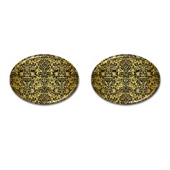 Damask2 Black Marble & Gold Brushed Metal (r) Cufflinks (oval) by trendistuff