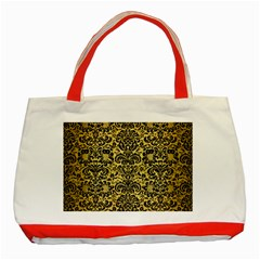 Damask2 Black Marble & Gold Brushed Metal (r) Classic Tote Bag (red) by trendistuff