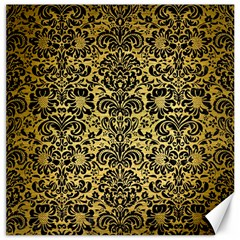 Damask2 Black Marble & Gold Brushed Metal (r) Canvas 12  X 12  by trendistuff