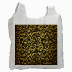 Damask2 Black Marble & Gold Brushed Metal (r) Recycle Bag (two Side)