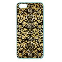 Damask2 Black Marble & Gold Brushed Metal (r) Apple Seamless Iphone 5 Case (color) by trendistuff