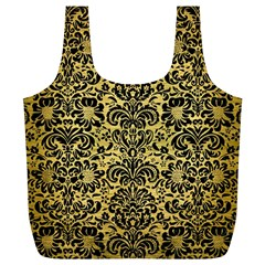Damask2 Black Marble & Gold Brushed Metal (r) Full Print Recycle Bag (xl) by trendistuff