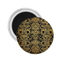 Damask2 Black Marble & Gold Brushed Metal 2 25  Magnet by trendistuff