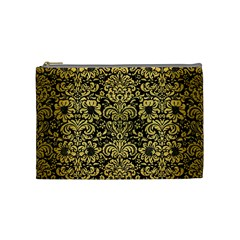 Damask2 Black Marble & Gold Brushed Metal Cosmetic Bag (medium) by trendistuff