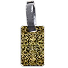 Damask2 Black Marble & Gold Brushed Metal Luggage Tag (two Sides)