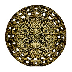 Damask2 Black Marble & Gold Brushed Metal Round Filigree Ornament (two Sides) by trendistuff
