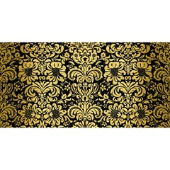 Damask2 Black Marble & Gold Brushed Metal You Are Invited 3d Greeting Card (8x4)