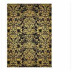 Damask2 Black Marble & Gold Brushed Metal Large Garden Flag (two Sides) by trendistuff