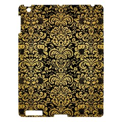 Damask2 Black Marble & Gold Brushed Metal Apple Ipad 3/4 Hardshell Case by trendistuff