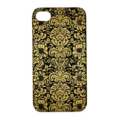 Damask2 Black Marble & Gold Brushed Metal Apple Iphone 4/4s Hardshell Case With Stand by trendistuff