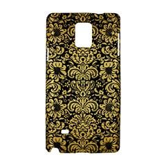 Damask2 Black Marble & Gold Brushed Metal Samsung Galaxy Note 4 Hardshell Case by trendistuff