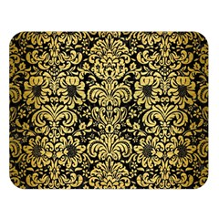 Damask2 Black Marble & Gold Brushed Metal Double Sided Flano Blanket (large) by trendistuff