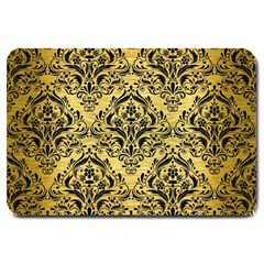 Damask1 Black Marble & Gold Brushed Metal (r) Large Doormat by trendistuff
