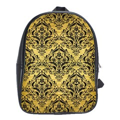 Damask1 Black Marble & Gold Brushed Metal (r) School Bag (xl)