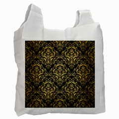Damask1 Black Marble & Gold Brushed Metal Recycle Bag (two Side) by trendistuff