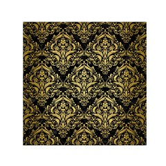 Damask1 Black Marble & Gold Brushed Metal Small Satin Scarf (square) by trendistuff