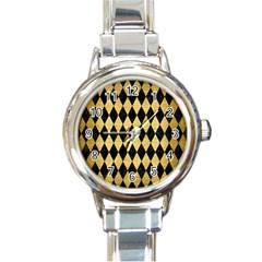 Diamond1 Black Marble & Gold Brushed Metal Round Italian Charm Watch by trendistuff