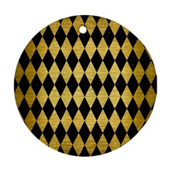 Diamond1 Black Marble & Gold Brushed Metal Ornament (round) by trendistuff