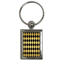 Diamond1 Black Marble & Gold Brushed Metal Key Chain (rectangle) by trendistuff