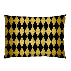 Diamond1 Black Marble & Gold Brushed Metal Pillow Case (two Sides) by trendistuff