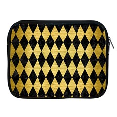 Diamond1 Black Marble & Gold Brushed Metal Apple Ipad Zipper Case by trendistuff