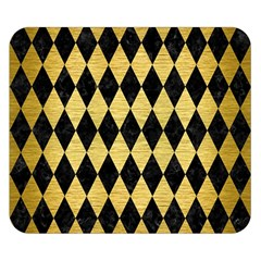 Diamond1 Black Marble & Gold Brushed Metal Double Sided Flano Blanket (small) by trendistuff