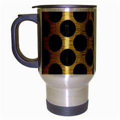 Circles2 Black Marble & Gold Brushed Metal (r) Travel Mug (silver Gray) by trendistuff