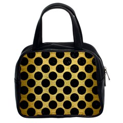 Circles2 Black Marble & Gold Brushed Metal (r) Classic Handbag (two Sides) by trendistuff