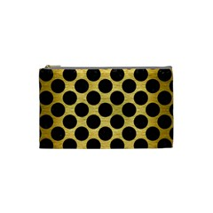 Circles2 Black Marble & Gold Brushed Metal (r) Cosmetic Bag (small) by trendistuff