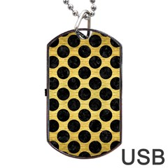 Circles2 Black Marble & Gold Brushed Metal (r) Dog Tag Usb Flash (one Side) by trendistuff