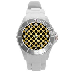 Circles2 Black Marble & Gold Brushed Metal (r) Round Plastic Sport Watch (l) by trendistuff